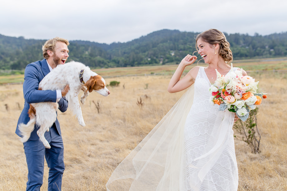 bride surprised by her groom and puppy - Bay Area photojournalistic wedding photographer