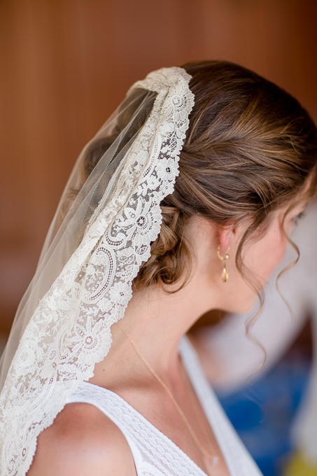 family made ivory lace wedding veil