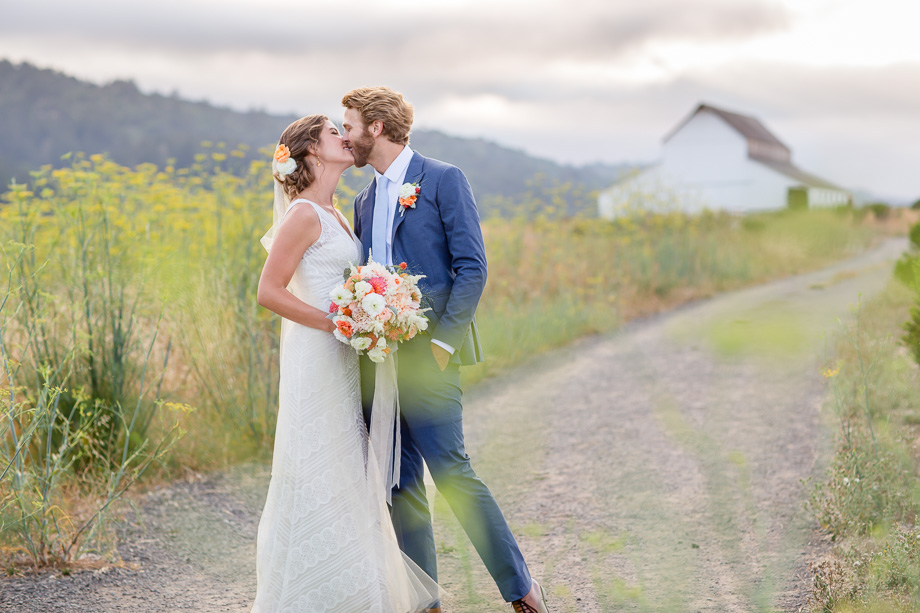 airy and romantic wedding portrait in front of an old barn - Bay Area wedding photographer